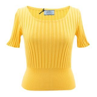 Prada Yellow Fitted Knitted Tshirt