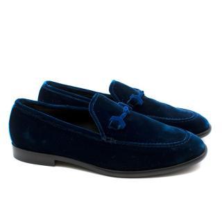 Jimmy Choo Current Season Blue Velvet Loafers