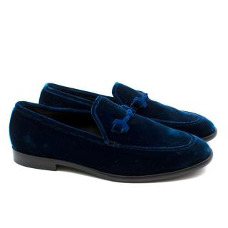 Jimmy Choo Current Season Blue Velvet Loafers