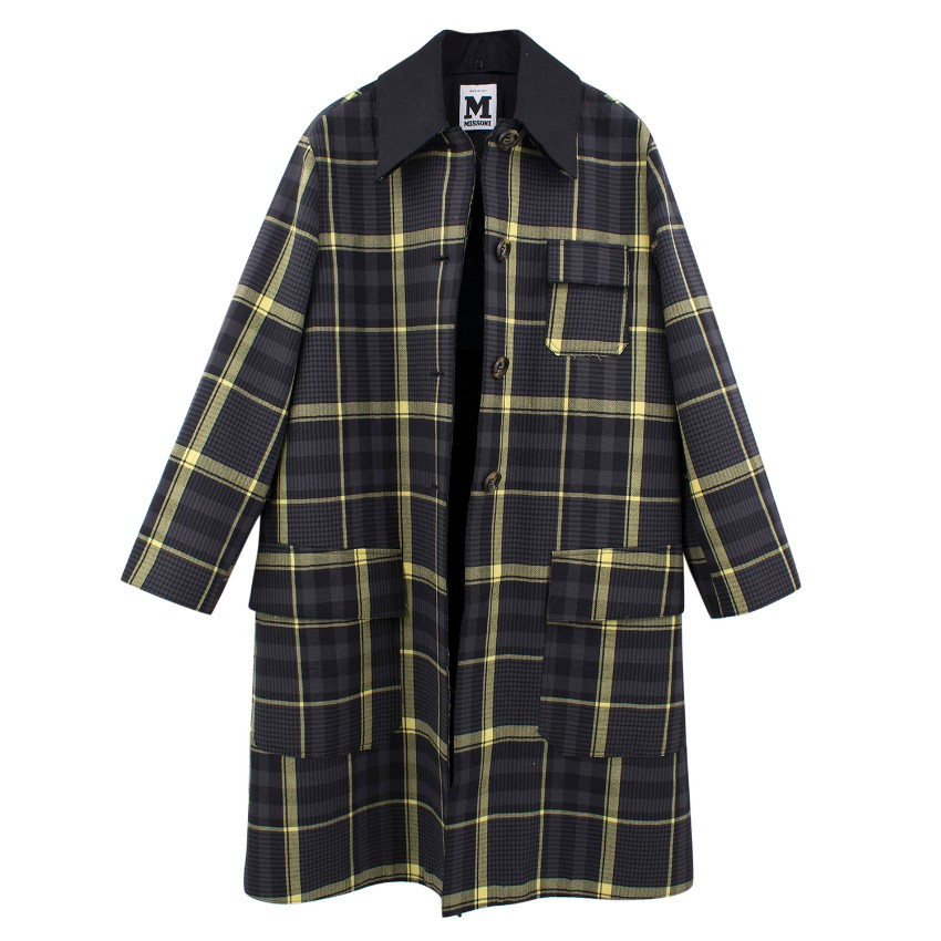 M Missoni Black and Yellow Checked Coat