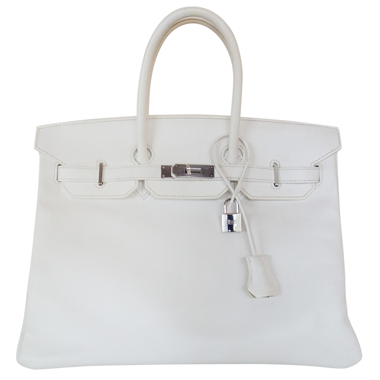 Hermes off white epsom 35 cm birkin bag