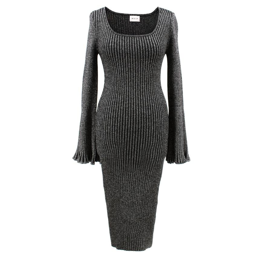 913de2d62e Milly Flaresleeve Ribbed Metallic Sweater Dress