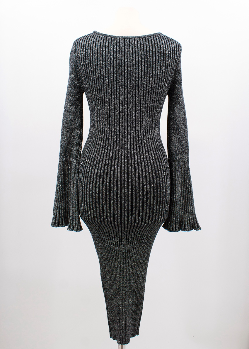 8ed699541d Milly Flare-sleeve Ribbed Metallic Sweater Dress. 36. 123456789