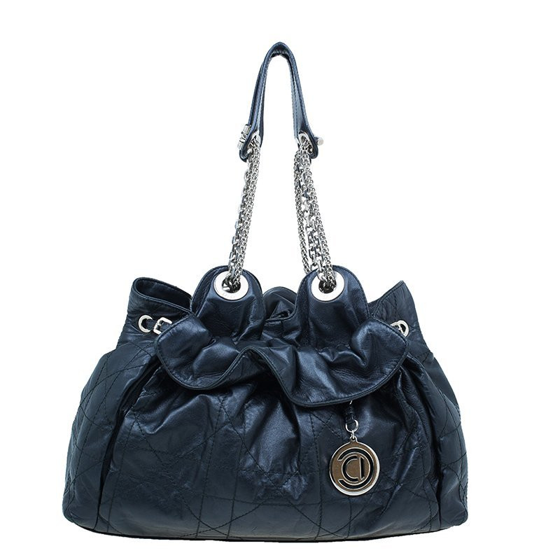 5091fb3b7d Christian Dior Le Trente Bag Cannage Quilt Leather Navy Blue   HEWI ...