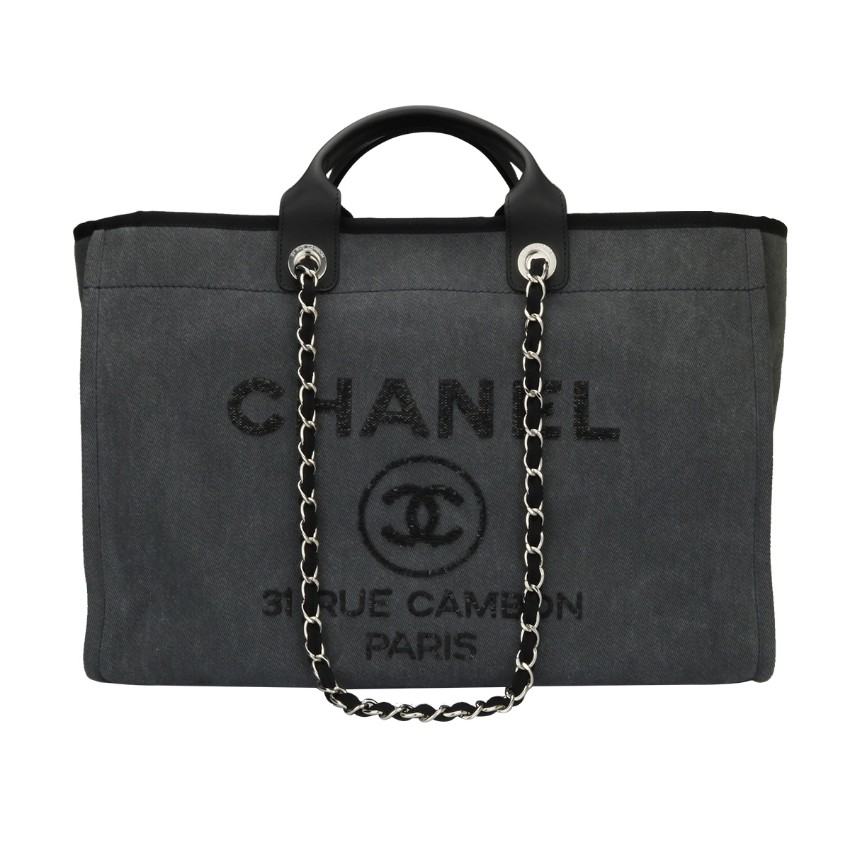a3d3429e8e50 Chanel Deauville Large Tote Grey Canvas | HEWI London