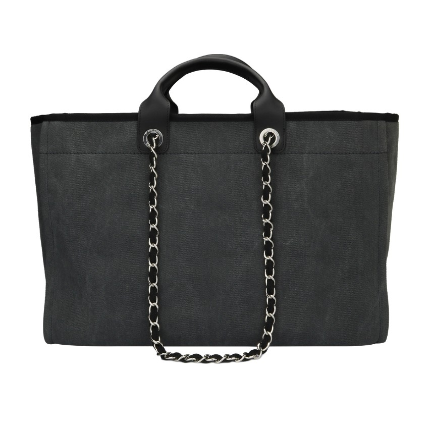 6175146bbfd Chanel Deauville Large Tote Grey Canvas. 28. 12345678910