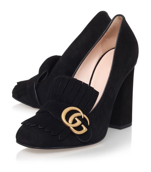 8fc2e688887 Gucci Marmont fringed suede block-heel pumps