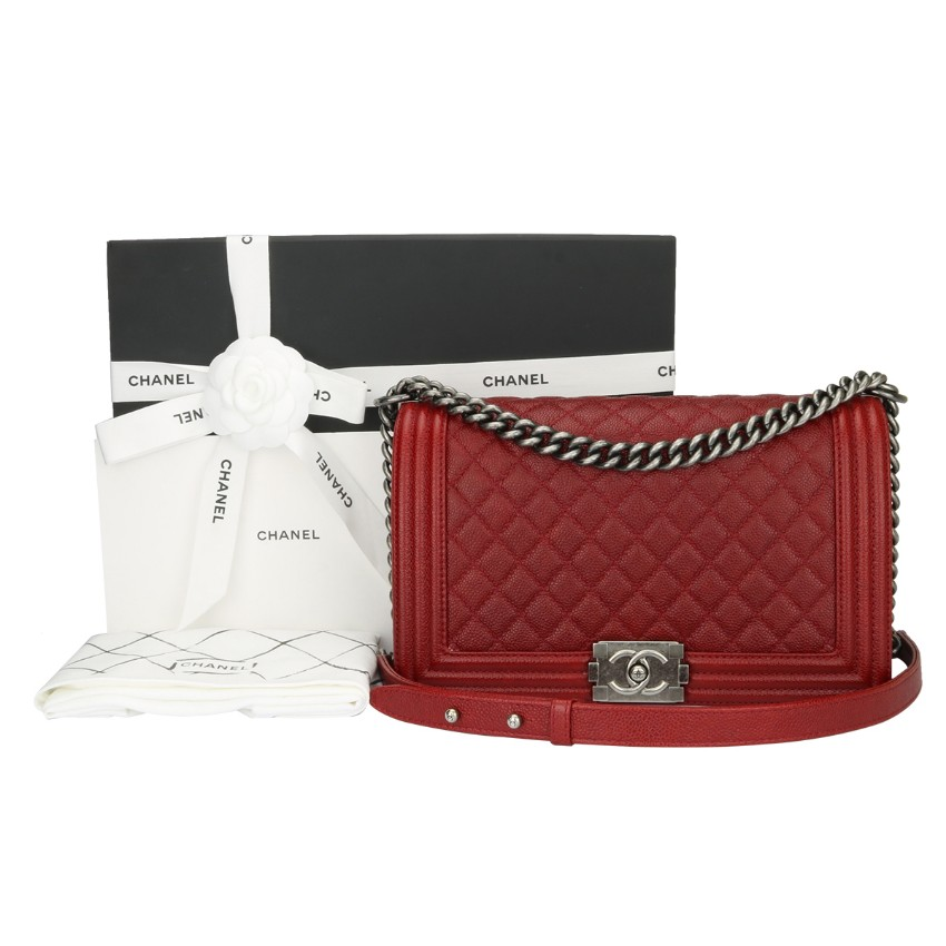 434c0f1096da1d Chanel Medium Quilted Boy Bag Red Caviar | HEWI London