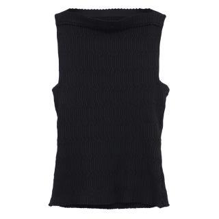 Alaia black ribbed knit top