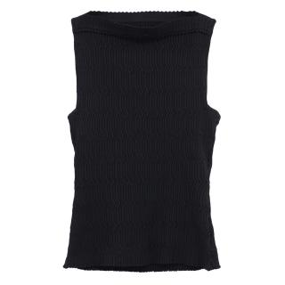 Alaia black ribbed knit top
