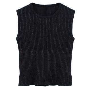 Alaia black ribbed metallic knit top