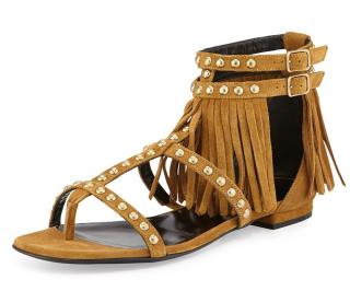 Saint Laurent Suede Fringe sandals size 37.5
