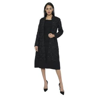Beulah Black Floral Applique Coat