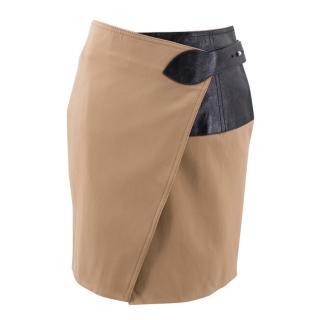Louis Vuitton brown wool blend wrap skirt