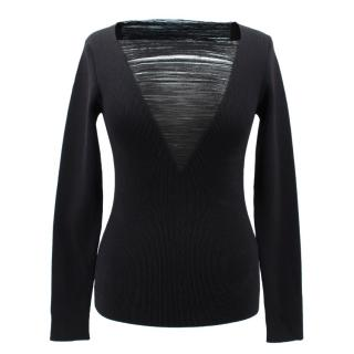Tom Ford black Shredded Knit top