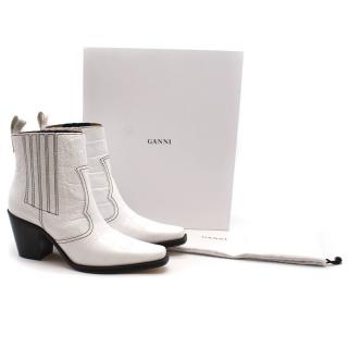 Ganni Callie white leather boots