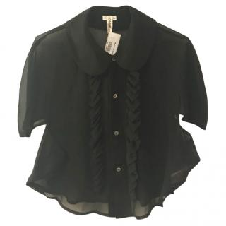 Comme des Garcons short sheer black blouse