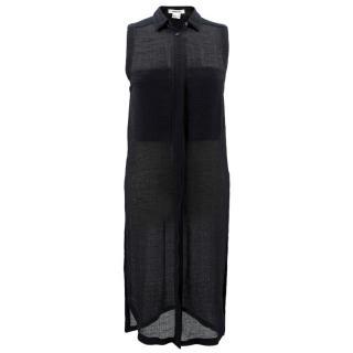 Helmut Lang Black Longline Sheer Shirt