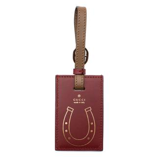 Gucci burgundy leather luggage tag
