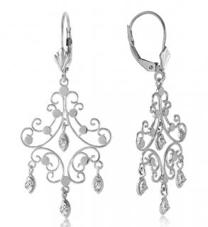 14k Solid White Gold Diamond Chandelier Earrings