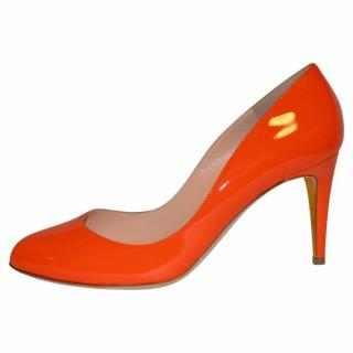 Rupert Sanderson  Patsy Flame Orange leather High Heel Pumps