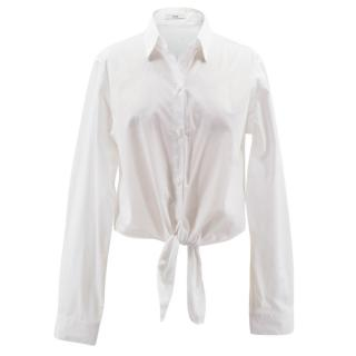 Tome white cotton cropped shirt