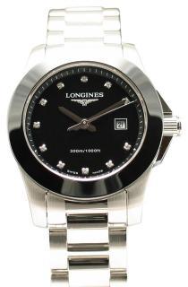 Conquest Black Ceramic Diamond Ladies Watch