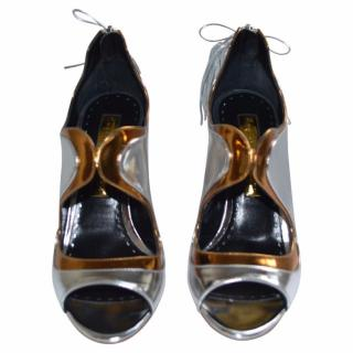 Rupert Sanderson Iridescent Silver/Gold Leather Shoes/Booties