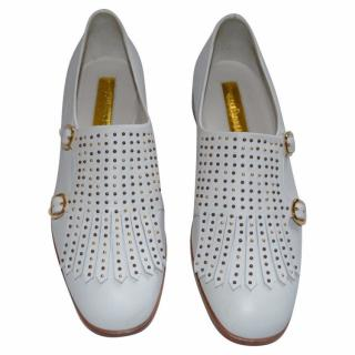 Rupert Sanderson Pepin Studded White Leather Loafers/Brogues