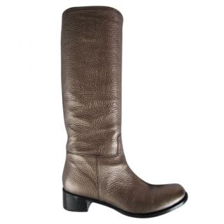 Prada pewter leather boots.