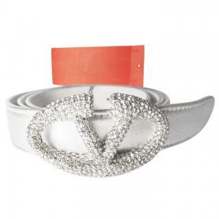 Valentino Garavani Silver Leather with Swarovski Crystals  Belt