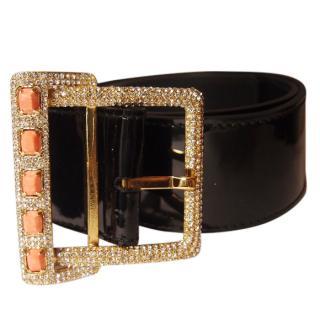 Valentino Garavani Patent Black Leather with Swarovski Crystals Belt