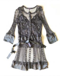 HALE BOB dark grey mesh cardigan + silk top