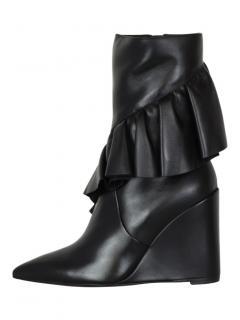 J.W. Anderson mid calf black ruffle boots