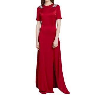 Beulah Red Genevieve Embellished Satin Gown