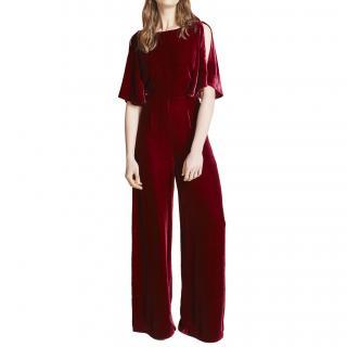 Beulah Burgundy Velvet Jumpsuit