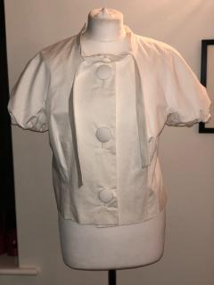 Love Moschino short sleeved tie neck white cotton blouse