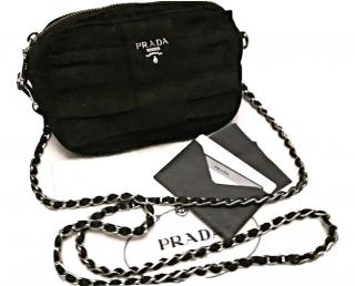 Prada black silver chain crossbody black bag