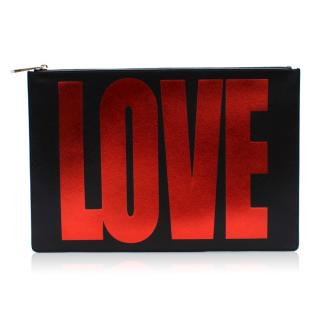 Givenchy black leather love print clutch