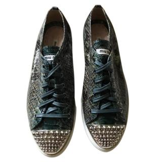 Miu Miu Snake Effect Studded Trainers