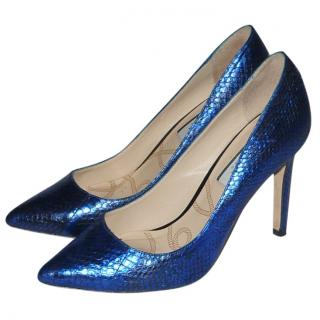 Lucy Choi Blue Metallic Stilettos