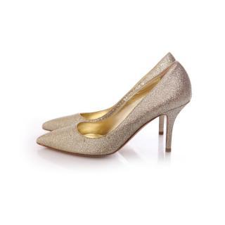 DSquared gold coloured glitter pumps