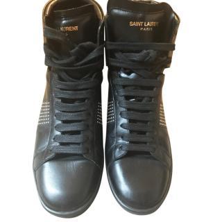 Saint Laurent black leather high tops