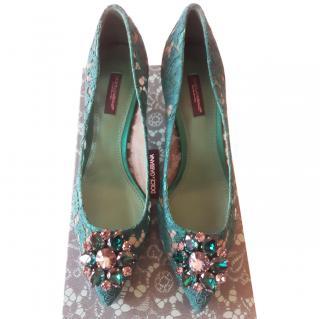Dolce Gabbana Embellished Emerald Pumps