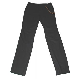 GUCCI black wool trousers, with gilt Gucci chain detail, size 44