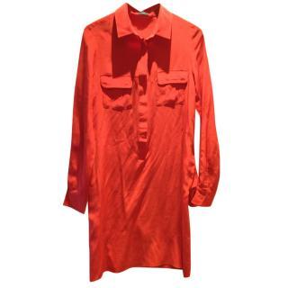 Joseph Red Silk Shirt Dress