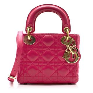 Dior Fuchsia Mini Lady Dior Bag