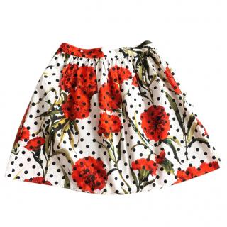 Dolce & Gabbana Girls Floral Cotton Skirt