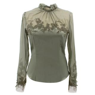 Ermanno Scervino green satin silk embroidered blouse