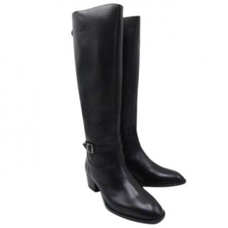 Saint Laurent  Wyatt Knee High Black Riding Boots